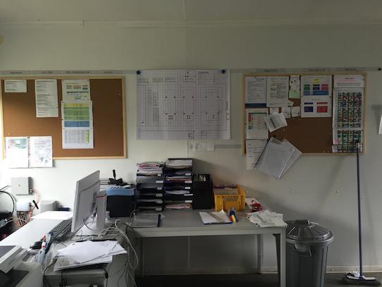 Einblick ins Büro des Camps. Foto: Kristijonas Duttke