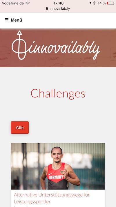 Beispiel für eine Challenge. Screenshot: Innovailably