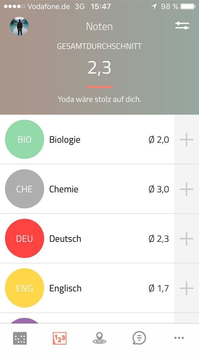 Mit der App haben Schüler jederzeit ihren Notendurchschnitt im Blick. Screenshot: Scoolio GmbH