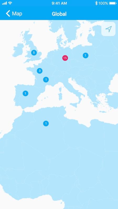 Die App verfügt auch über eine internationale Karte, um auch die Freunde im Ausland zu finden.Screenshot: Meetle.me