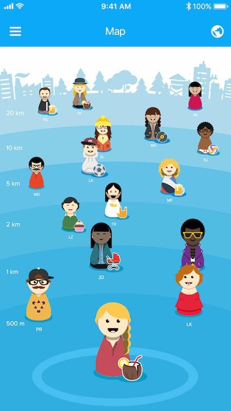 Per Avatar können die Nutzer sehen, wo sich ihre Freunde gerade befinden. Screenshot: Meetle.me