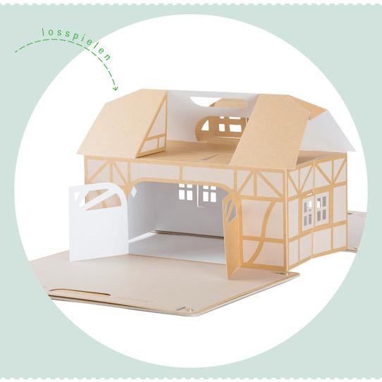 So sieht das aufgebaute Pappka-Haus aus. Foto: PR/MuseKind GmbH