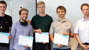 Das Gewinnerteam des 2. Thin(gk)athon des Smart Systems Hub in Dresden. Foto: Smart Systems Hub