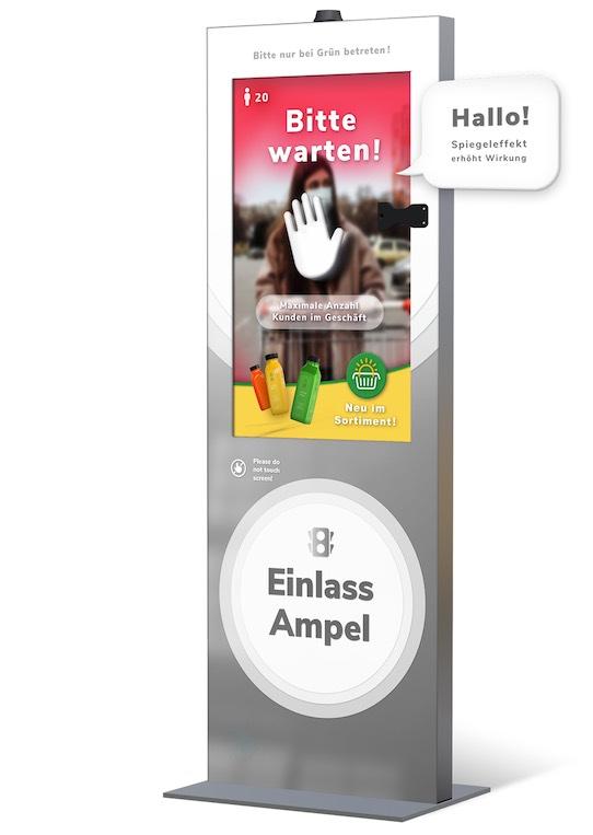 Das von Sensape entwickelte Ampel-System erkennt, ob die Besucher einer Veranstaltung ihre Mund-Nase-Bedeckung richtig aufgesetzt haben. Außerdem kann es auch aus der Ferne Fieber messen und so gegebenenfalls den Zugang verwehren. Foto: PR/Sensape