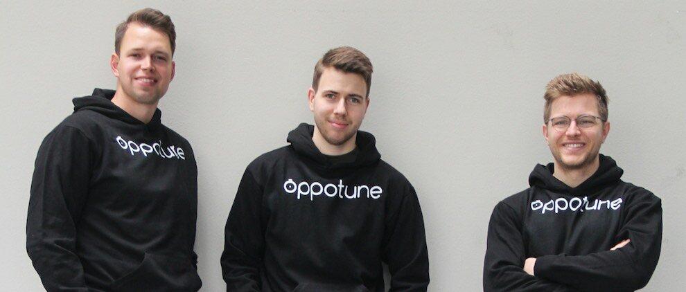 Johann Greger (25), Oskar Flegel (23) und Heiner Ludwig (26) (v.l.n.r) sind die Grüner von Oppotune. Foto: PR/Oppotune